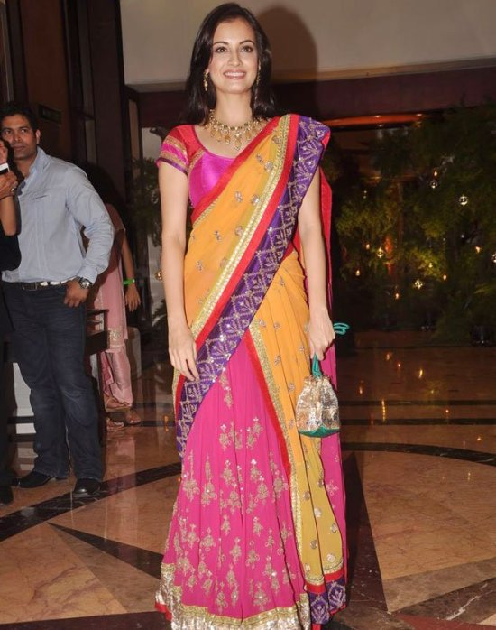 dia mirza in pink and yellow lehenga choli at genelia ritesh sangeet ceremony