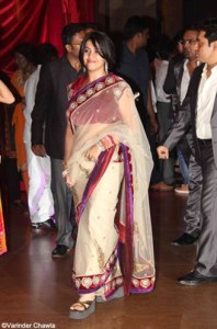 ekta kapoor in a designer net saree at ritesh genelia wedding reception party