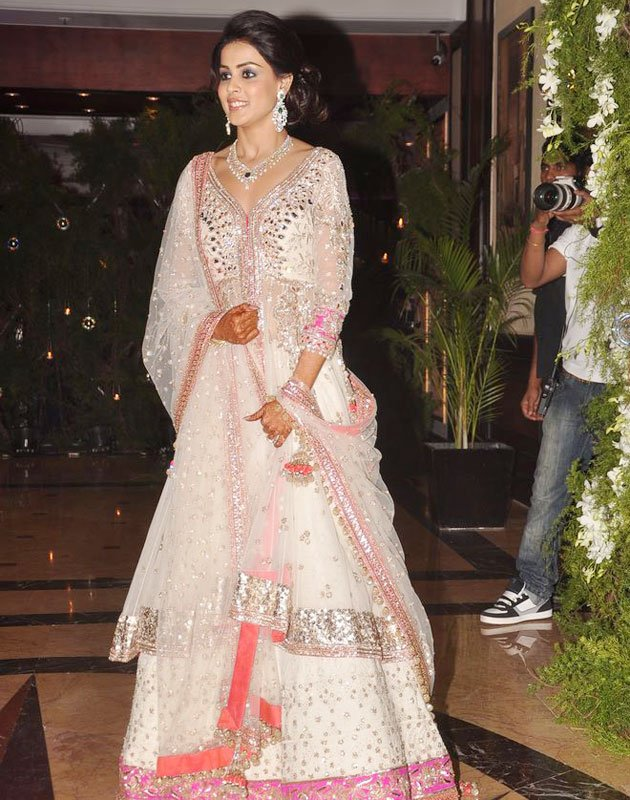 Genelia D'souza in Lehenga Choli in her Sangeet Ceremony