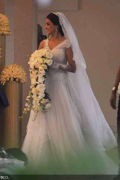Genelia looked her best in white gown during her church wedding at the st annes church bandra