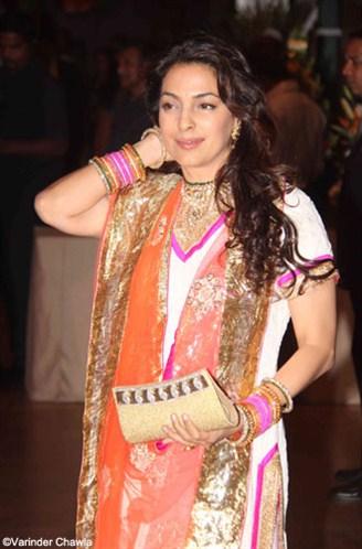 juhi chawla in a white salwar kameez at ritesh genelia wedding reception party