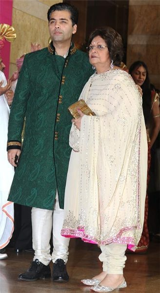 Karan Johar and his mother at Genelia DSouza and Ritesh Deshmukh Wedding