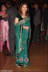 madhuri dixit in a teal designer saree at ritesh genelia reception party