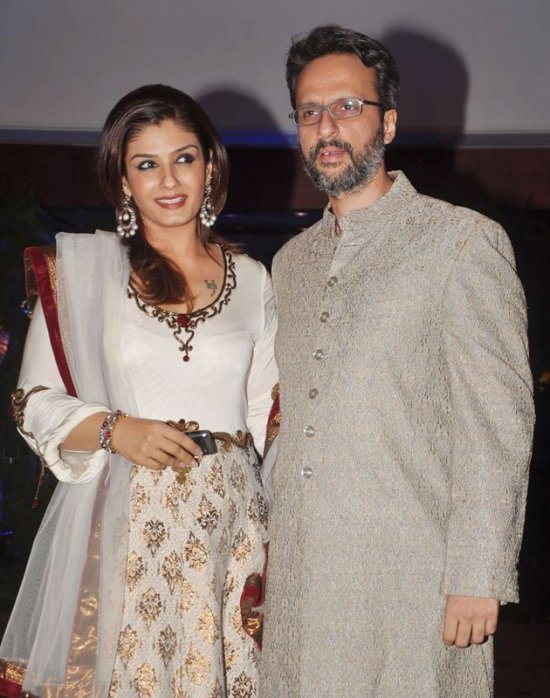 raveena tandon in an anarkali salwar kameez at genelia and ritesh sangeet ceremony