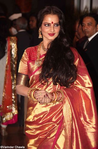 rekha in deep pink satin saree at genelia and ritesh wedding reception party