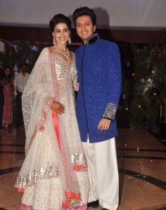Ritesh and Genelia in their Sangeet Ceremony