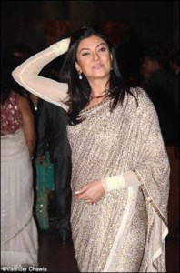 sushmita sen in a saree at ritesh genelia wedding reception party