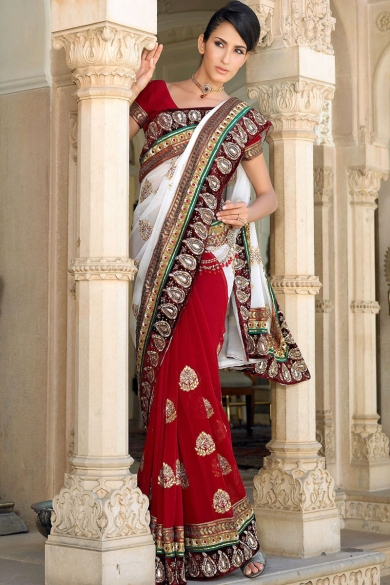 White and Carmine Red Wedding and Festival Georgette Embroidered Saree. sku code102SA105