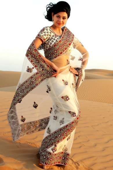 White Net Embroidered Wedding and Festival Saree. sku code-119SA13298