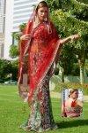 Persian Red Net Embroidered Lehenga Style Saree. sku code-119SA13302