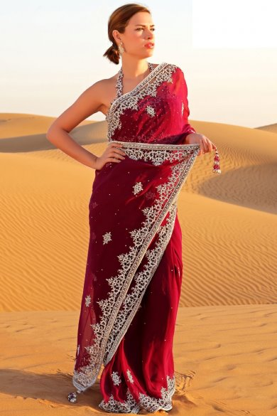 Carmine Red Faux Georgette Embroidered Saree. sku code-119SA13307