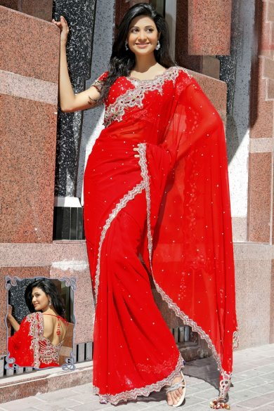 Red Faux Georgette Embroidered Wedding and Festival Saree. sku code-119SA13310
