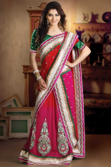 Hot Pink and Red Wedding and Festival Embroidered Saree. sku code-63SA128