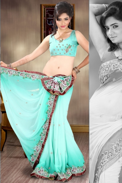 Light Turquoise Blue Faux Georgette Embroidered Saree. sku code-112SA616B