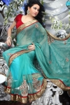 Turquoise Blue Embroidered Faux Georgette Saree. sku code-150SA1020