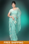 Light Turquoise and White Printed Pure Georgette Saree. Free Shipping. sku code-1SANC247