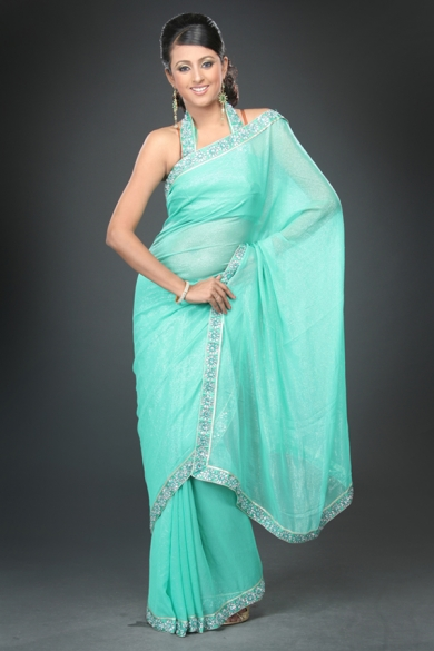 Light Turquoise Embroidered Wedding Saree. sku code-3SAS122