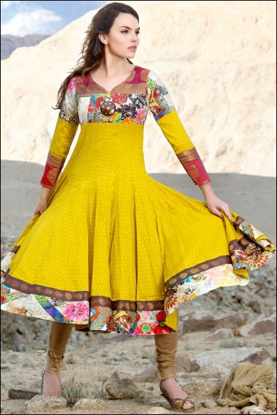 yellow embroidered anarkali suit. sku code- 158SL4837