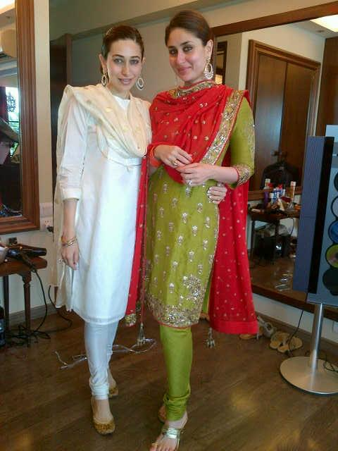 KAREENA WITH SIS KARISHMA IN CHURIDAR KAMEEZ