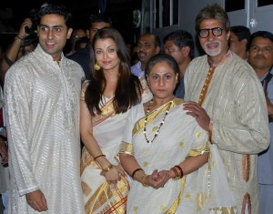 The Bachhan family pose on the launch of Madhushala