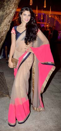 Jacqueline Fernandez is seen at the wedding reception