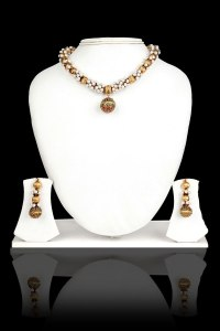 Golden and Off-white Metal and Stone Party and Festival Necklace