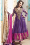 Violet Brocade and Net Embroidered Party and Festival Lawn Kameez