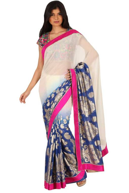 Off-white and Denim Blue Viscose Embroidered Party and Festival Saree