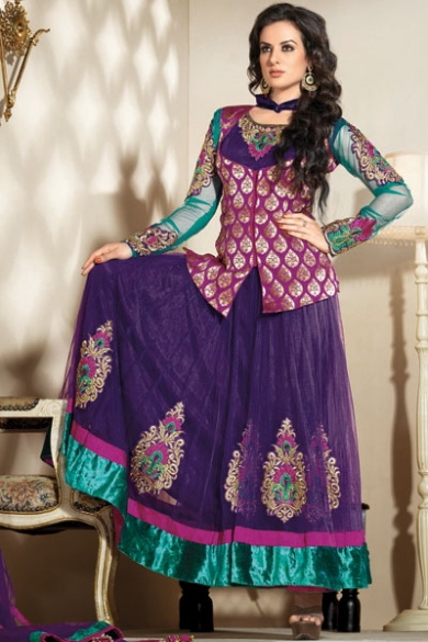 Navy Blue and Robin-egg Blue Brocade and Net Embroidered Lawn Kameez