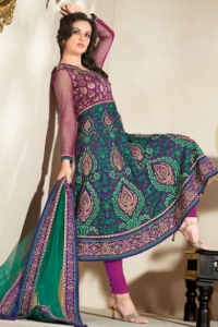 Persian Green and Purple Brocade and Net Embroidered Anarkali Kameez