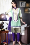 Celadon Green and Persian-indigo Violet Brocade Anarkali Kameez