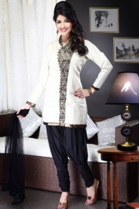 Off-white and Black Brocade Embroidered Salwar Kameez