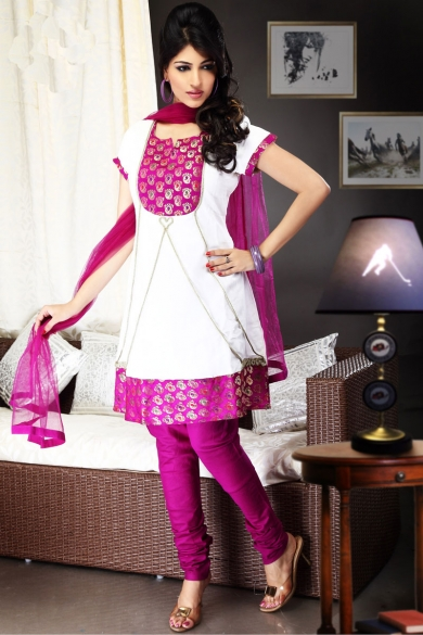 Off-white and Red-violet Brocade and Cotton Churidar Kameez