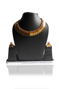 Golden and Cardinal Red Metal and Stone Party and Festival Necklace