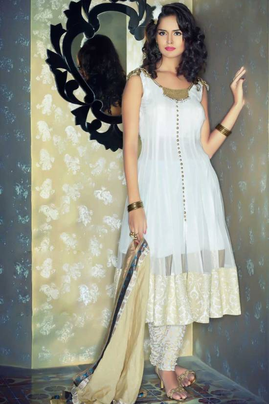 White Faux Georgette and Brocade Anarkali Kameez