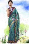 Persian Green Viscose Embroidered Party and Festival Saree