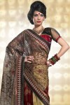 Cream Yellow and Auburn Brown Viscose Embroidered Saree