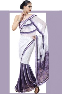 Off-white and Amethyst Violet Viscose Embroidered Lehenga Style Saree