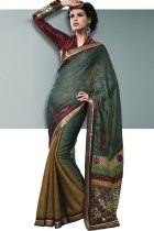 Viridian Green and Dark Goldenrod Yellow Viscose Embroidered Saree