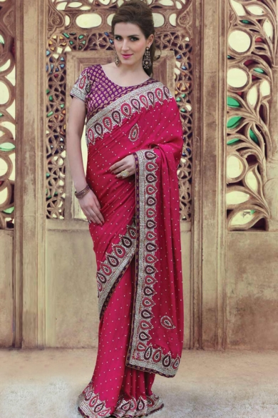 Magenta Jacquard Embroidered Party and Festival Saree