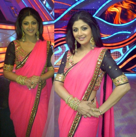 Shilpa in a block neon pink saree