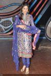 Elegantly dressed Shilpa Shetty tries to manage her dupatta on the sets of Nach Baliye 5