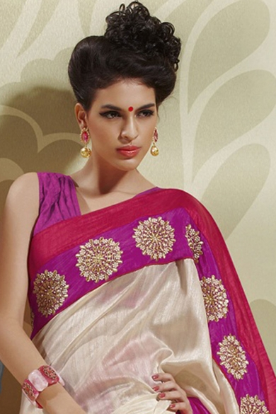 Beige Brown Silk Embroidered Party and Festival Saree