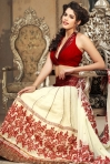 Cream Yellow Chiffon and Jacquard Embroidered Lehenga Style Saree