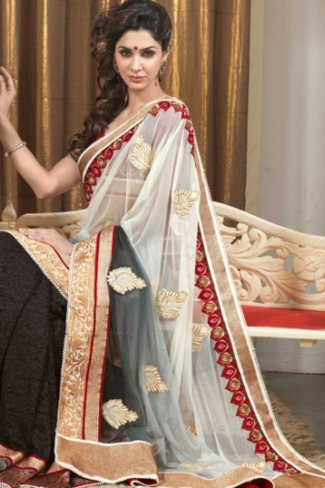 Off-white and Black Net and Jacquard Embroidered Saree
