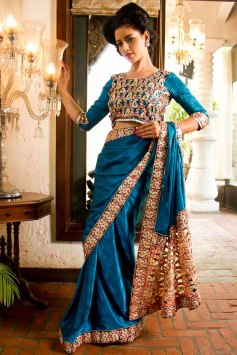 Yale Blue Jacquard Embroidered Party and Festival Saree