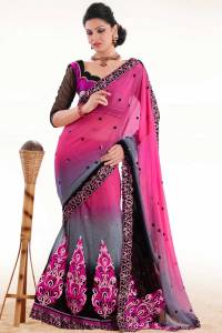 Pink Embroidered Lehenga Saree