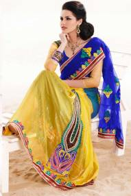 Blue and Maize Yellow Net and Crepe Embroidered Lehenga style Saree