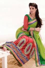 Yellow-green and Coral Red Net Embroidered Lehenga style Saree