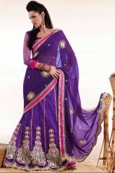 Amethyst Violet Faux Georgette Embroidered Lehenga style Saree